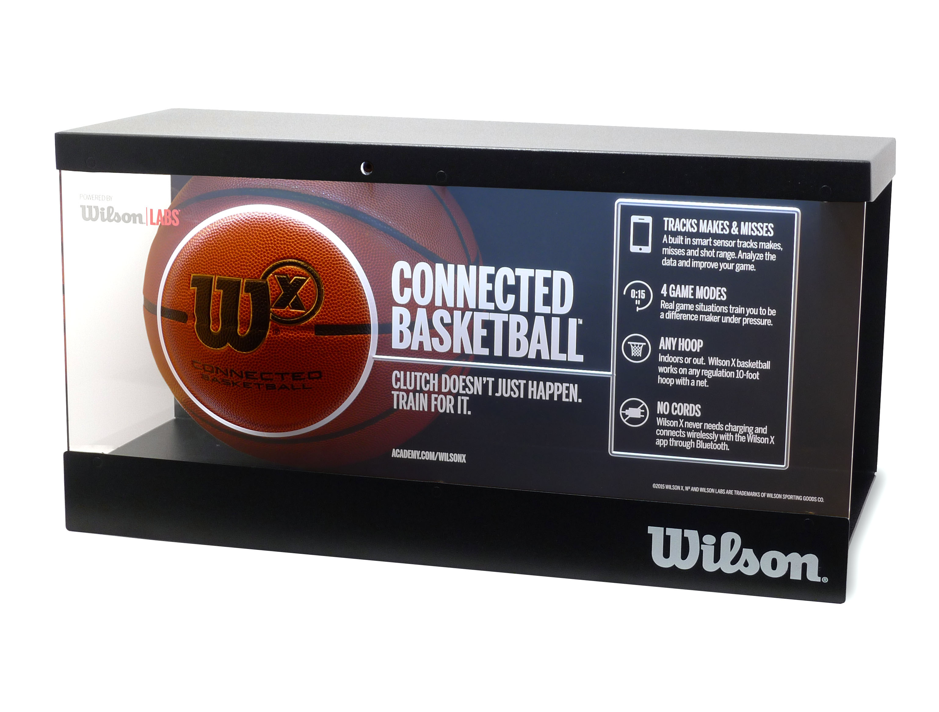 Wilson X In-Line Shelf Display with Motion Lit Acrylic Feature Benefit Display