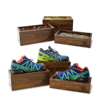 Salomon branded wood shoe risers with natural element fillers