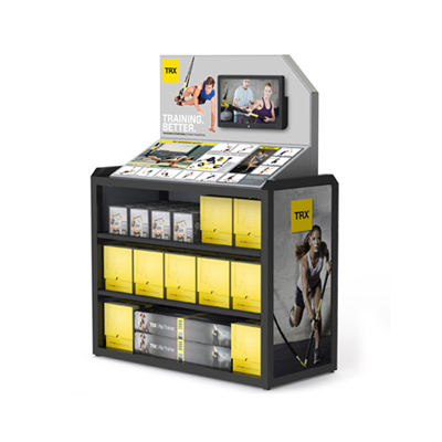 TRX branded metal floor standing retail display with video monitor