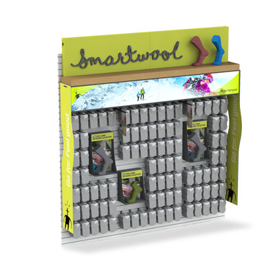 Smartwool branded modular retail display including banners, motion activated shadowboxes, and wayfinders.