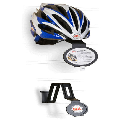 Bell branded single helmet display with feature benefit card
