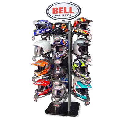 Bell branded wall system with vinyl banners, graphic mirror frame, helmet riser