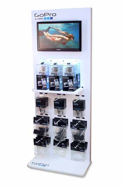 White freestanding GoPro branded retail display with video monitor