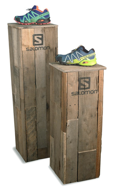 Salomon branded reclaimed wood pedestals