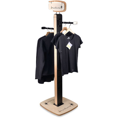 Smartwool branded floor standing apparel display, powdercoated steel and birch plywood.