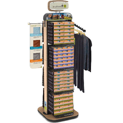 Smartwool branded floor standing high capacity apparel display with small merchandising footprin